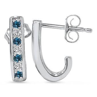 1 / 3ct blauen & weißen Diamanten Creolen 14 K White Gold