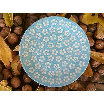 Breakfast plate, ø 22 cm, Bolesławiec turquoise, BSN m-4230