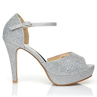 GLAMOUR Silver Diamante Encrusted Ankle Strap Platform Peep Toe High Heels