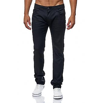 Men's Jeans Pants Coated Black Slim Fit