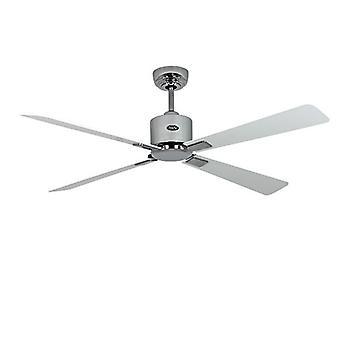 Energie-besparende plafondventilator Eco Neo II 132 cm/52 inch geborsteld chroom bladen wit / licht grijs