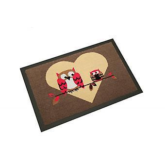 Tapis de sol de conception amour chouette | Piégeage de saleté tapis 40 x 60 cm 101774