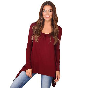 KRISP  Women Ladies Pleated Flared Hanky Hem Plain Jersey Long Sleeve Tunic Top T Shirt