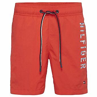 Tommy Hilfiger Boys Medium Drawstring Swim Shorts, Flame Scarlet, Large