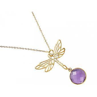 Gemshine - damas - collar - colgante - plata 925 - oro - libélula - amatista - púrpura - violeta - 45 cm