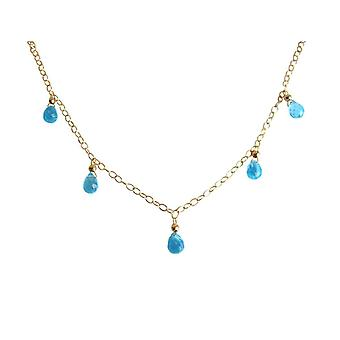 Gemshine - ladies - necklace - pendants - gold quartz - drops - Topaz - faceted 45 cm - Blue-
