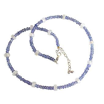 Gemstone necklace for ladies 925 Silver tanzanite and Moonstone necklace