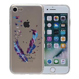 Henna cover for Apple iPhone X tilfælde beskyttende dække silikone fjer farves