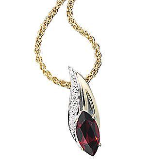 585 /-g-0, 01ct pendant. Gold Garnet pendant with diamond brilliant Garnet gold