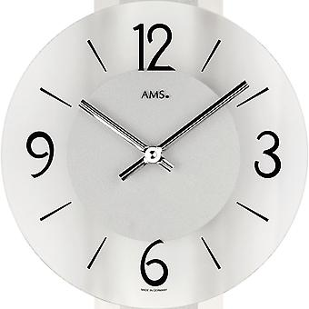 fashionable wall clock quartz polished aluminum-chrome support mineral glass