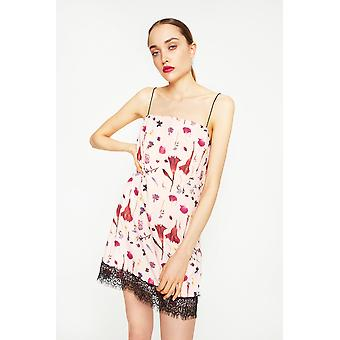 Stay Sunny Chicago Floral Strappy Mini Dress With Lace Hem