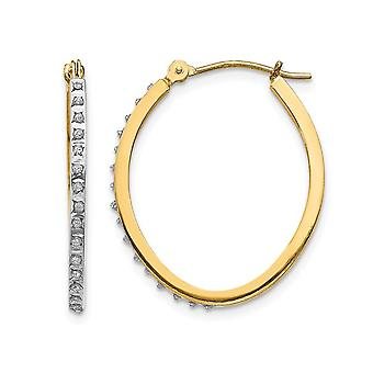 Accent Diamond Oval Hinged Hoop Earrings in 14K Yellow Gold (1 Inch)