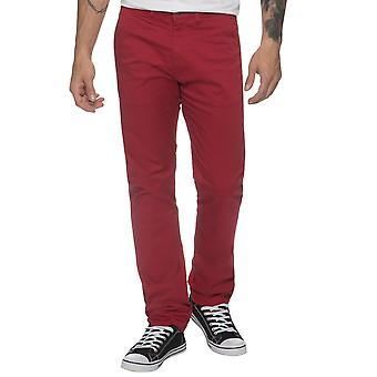 Mens Tapered Fit Red Stretch Chinos | Enzo Designer Menswear