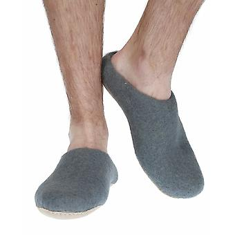 Classic men's warm handmade felt slippers in spruce | By Pachamama