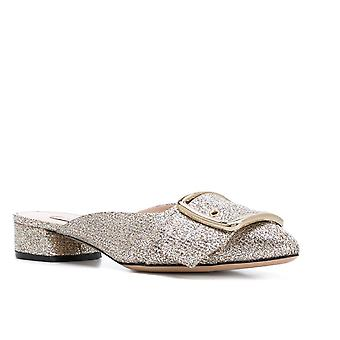 Casadei close slippers in platinum leather glitter