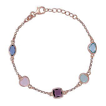 Coralie 925 argent Bracelet Rose avec multicolores pierres 18,5 CM ZA-7412