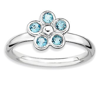 925 Sterling Silver Bezel Polished Rhodium-plated Stackable Expressions Blue Topaz Flower Ring - Ring Size: 6 to 10