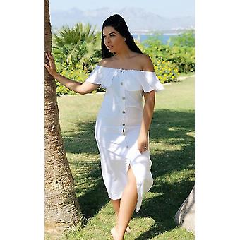 IKRUSH Womens Delilah Off Shoulder Button Up Midi Dress