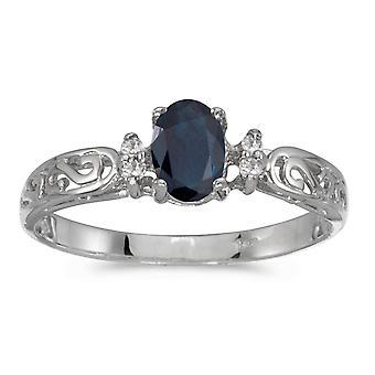 14k blanco oro zafiro Oval y diamantes anillo Filagree