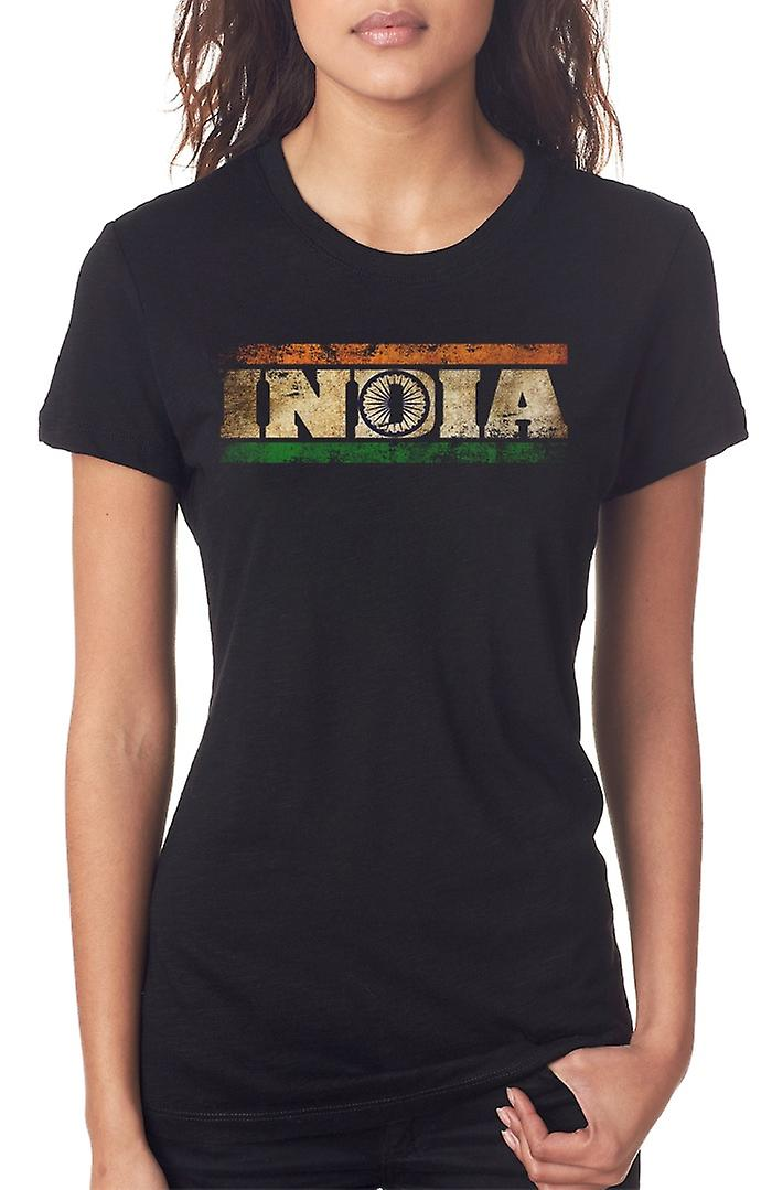 India Indian Flag - Words Ladies T Shirt