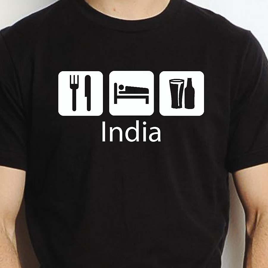 Eat Sleep Drink India Black Hand Printed T shirt India Town