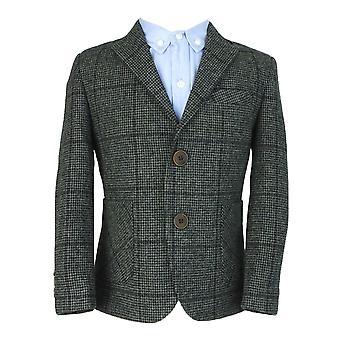 Couche Tot jongens grijs wol Tweed 4 delig kostuum setje