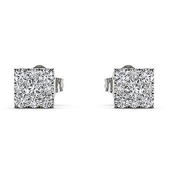 IGI Certified Solid 925 Sterling Silver 0.50 Ct Round Cut Diamond Stud Earrings