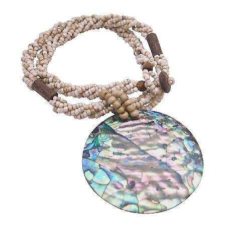 Abalone Pendant In Beige Beaded Necklace Gifts Year Party Jewelry