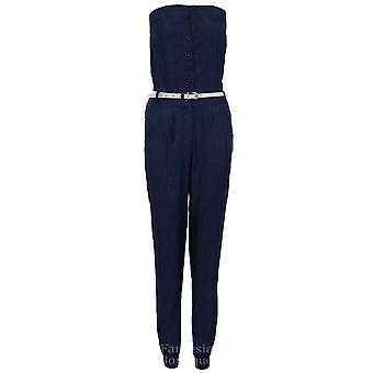 Ladies Boobtube Belted Button Front All In One Vintage Women's Trousers Jumpsuit