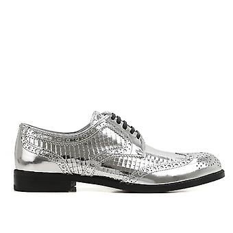 Dolce E Gabbana Silver Leather Lace-up Shoes