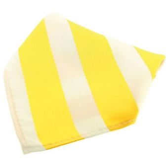 David Van Hagen Striped Polyester Pocket Square - Yellow/White