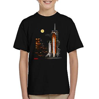 NASA STS 110 Discovery Shuttle At Launch Pad Kid's T-Shirt