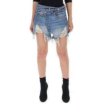 R13 Light Blue Denim Skirt