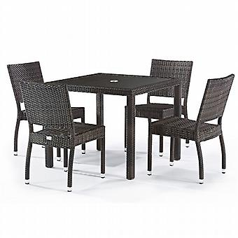 BrackenStyle Andreas 4 Seat Rattan Dining Set with Inlaid Glass Top