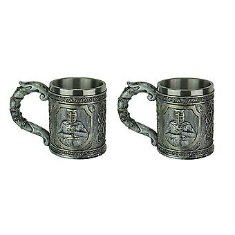 Pewter Look Templar Knight Drinking Mug With Stainless Steel Liner Set of 2