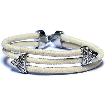 Lavriche Stingray cuero blanco pulsera 925 plata y CZ alta calidad