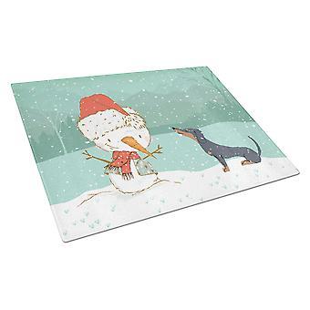 Black Tan Dachshund Snowman Christmas Glass Cutting Board Large