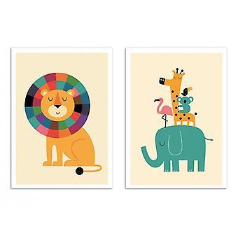 2 kunst-posters 30 x 40 cm-jungle dieren-Andy Westface