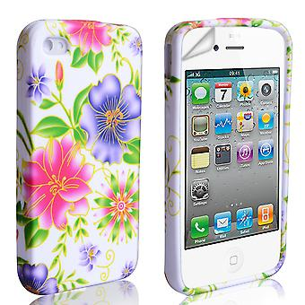 YouSave Accessories iPhone 4 4S Floral Gel Case PinkPurple