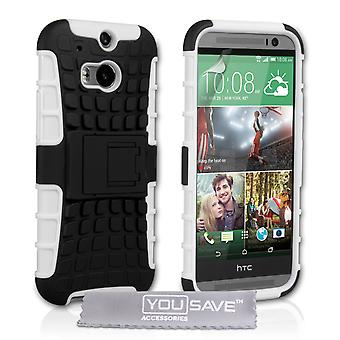 YouSave Accessories HTC One M8 Stand Combo Case - White