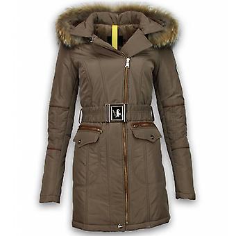 Winter coats-ladies winter coat long-angled zipper with side pockets-Beige