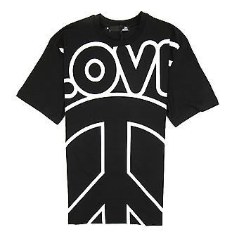 Love Moschino Love Peace Cotton T-shirt Nero/Bianco