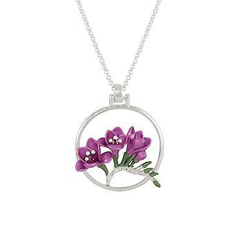 Eternal Collection Freesia Plum Enamel Silver Tone Round Flower Pendant