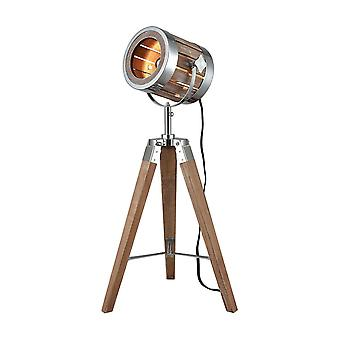 Brown picfair table lamp in natural wood and metal stein world