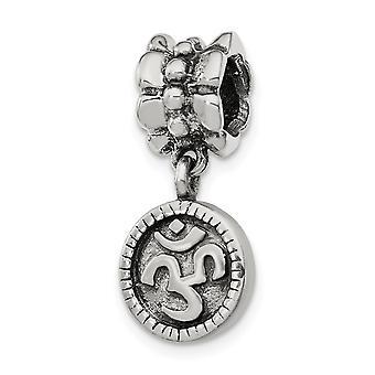 925 Sterling hopea antiikki viimeistely heijastukset om symboli Dangle helmi charmia