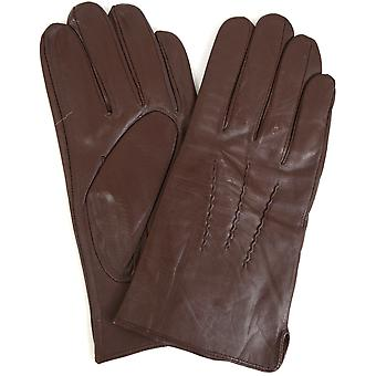 Mens Leather 3 Point Gloves - Brown