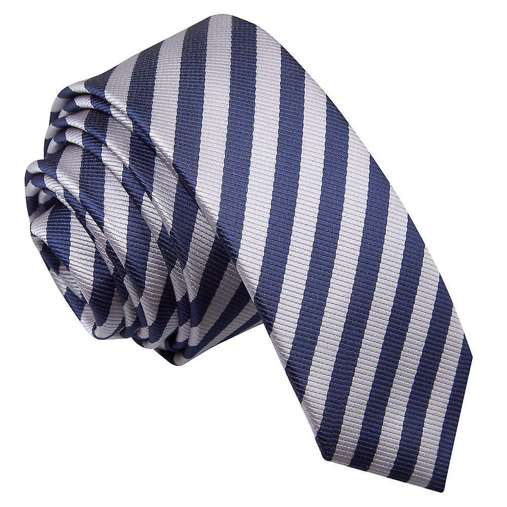 Thin Stripe Navy Blue & Silver Skinny Tie