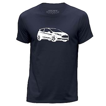 STUFF4 Men's Round Neck T-Shirt/Stencil Car Art / 13 Fiesta ST/Navy Blue