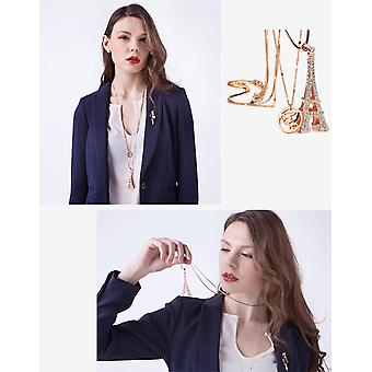 14K Rose Gold Plated 55 CM Long Double Chain Eiffel Tower Necklace