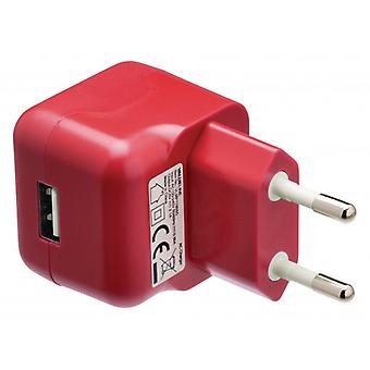 ValueLine AC charger with USB connector, USB A female-AC-contact for home, Red